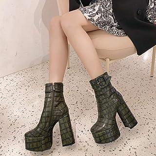 Elastic Platform Women's Boots, Block Chunky Heel Zipper Round Toe Pull on Ankle Booties
