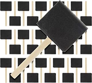 US Art Supply 3 inch Foam Sponge Wood Handle Paint Brush Set (Super Value Pack of 30 Brushes) - Lightweight, Durable and G...