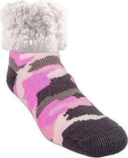 Cozy Winter Slipper Socks Women & Men w Non-Slip Grippers Faux Fur Sherpa