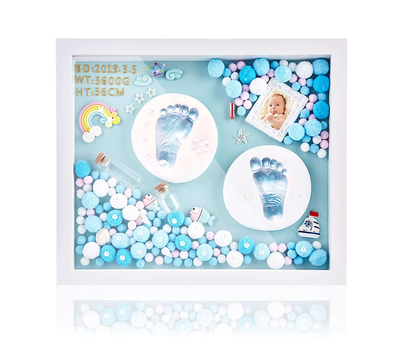 DIY Baby Hand and Footprint Kit, Super Cute Baby Shower Gifts in 2019, Perfect Baby Picture Frame for Newborn Baby Girls and Boys