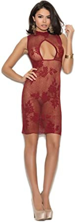 Zabeanco Lace Dress Flower Pattern With A High Neck and Keyhole Front