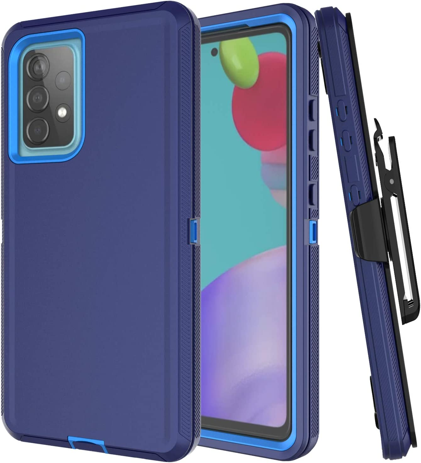 Aimoll-88 Galaxy A52 5G Case [US Version], with Screen Protector Heavy Duty Cover for Samsung A52 5G Case Belt Clip Hybrid Shockproof Drop Protection Holster for Samsung Galaxy A52 5G (Navy)