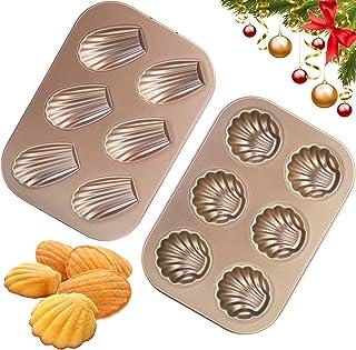 EKKONG Madeleine Lot de 2 moules à madeleine Moule à madeleines Plaque de cuisson en acier carbone avec revêtement anti-ad...