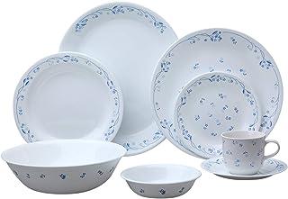 Corelle Vitrelle 3-layer Glass Provincial Blue - 76 Pieces Set, White, W 21.0 x H 13.4 x D 10.9 cm, Glass