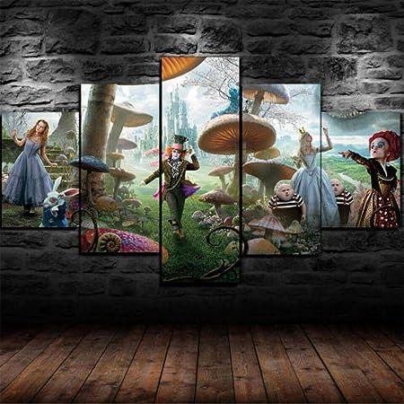 13tdfc Mit Rahmen Vlies Leinwanddrucke 5 Teilig Kunstdruck Leinwand Bild Xxl Format Wandbilder Wohnzimmer Wohnung Deko 150x80cm Alic Im Wunderland Fantasy World Gerahmt Geschenk Küche Haushalt