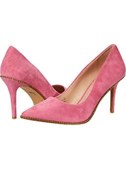 코치 펌프스 COACH 85 mm Waverly Pump with Beadchain,Pink Suede