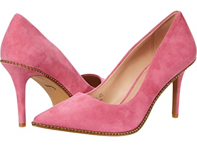 COACH 85 mm Waverly Pump with Beadchain (Pink Suede) Women