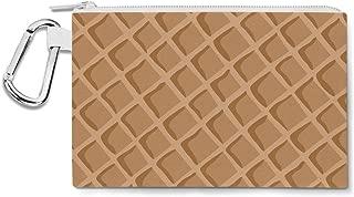 Icecream Waffle Cone Canvas Zip Pouch - Multi Purpose Pencil Case Bag