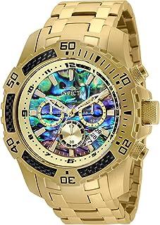 Invicta Mens 50mm Pro Diver Scuba Quartz Chronograph Carbon Fiber Bezel Abalone Dial Bracelet Watch