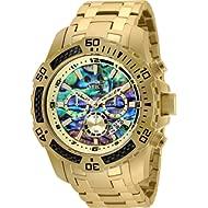 Men's Pro Diver Scuba Quartz Chronograph Carbon Fiber Bezel Abalone Dial Bracelet Watch, 50mm