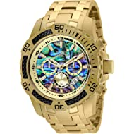 Invicta Men's 50mm Pro Diver Scuba Quartz Chronograph Carbon Fiber Bezel Abalone Dial Bracelet Watch