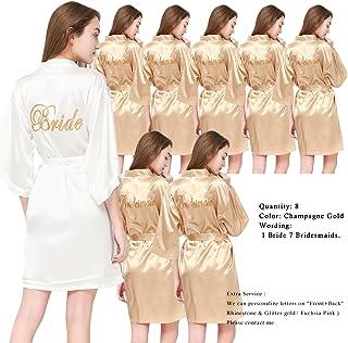PROGULOVER Set of 8 Women s Satin Kimono Robes for Bride Bridesmaid with  Gold Glitter Wedding Party f09d2e17a