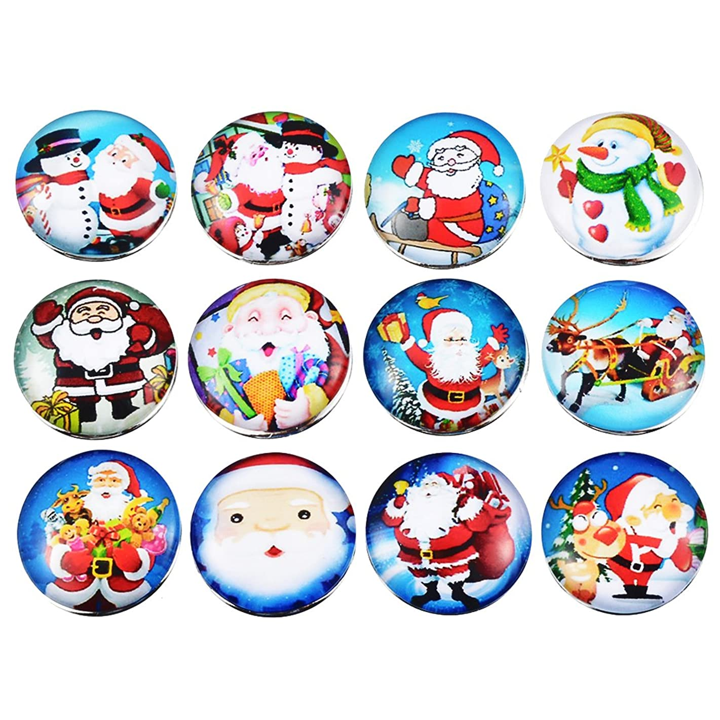 Souarts Solid Mixed Colorful Christmas Snowman Santa Claus Pattern DIY Snap Button Jewelry Charms 18mm Pack of 12pcs