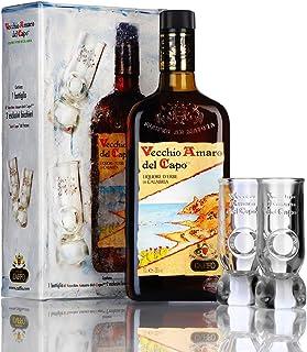 Vecchio Amaro del Capo, Kräuterlikör aus Kalabrien mit 2 Gläsern 1x700ml ml