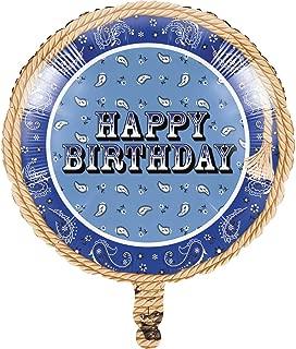 Creative Converting Blue Bandana Cowboy Metallic Balloons, 10-Count