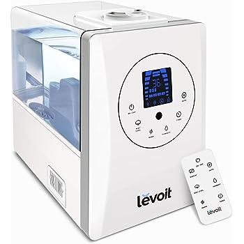 Levoit Humidificador Ultrasónico 6L Bebé de Vapor Caliente y Frío, Difusor de Aroma, 3 Niveles Ajustables, Monitor de Humedad, Control Remoto y Temporizador, Auto-Apagado, Boquilla 360°, LV600HH