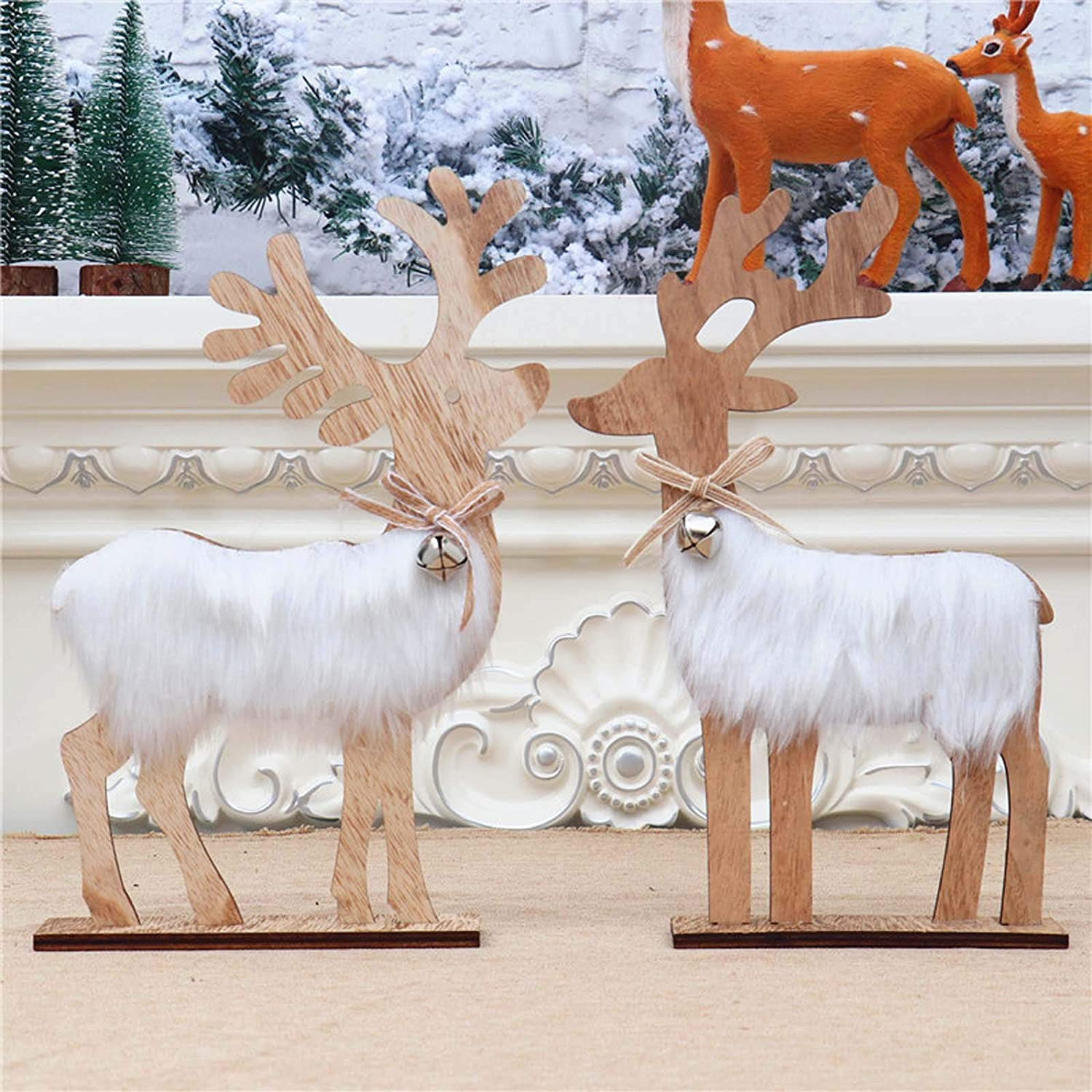 A Couple of Elk Christmas Elk Ornaments Log Material Elk with a Bell on The Neck Wooden Christmas Tree Desk Decoration Plush Simulation Deer Decor Festival Gifts Toy