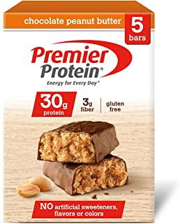 Premier Protein 30g Protein Bar, Chocolate Peanut Butter, 2.53 oz Bar, (5 Count)