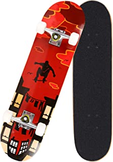 "Hosmat 31"" Complete Pro Skateboard 7 Layer Canadian Maple Wood Skateboard Deck with Double Kick Concave Design for Kids & Adults Beginner - Age 5 Up"