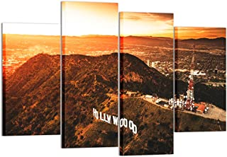 Kreative Arts - 4 Piece Wall Art Aerial View of The Hollywood Sign at Dusk Picture Prints On Canvas City of Los Angeles California Photography Giclee Printing Art Work for Home Modern Decoration