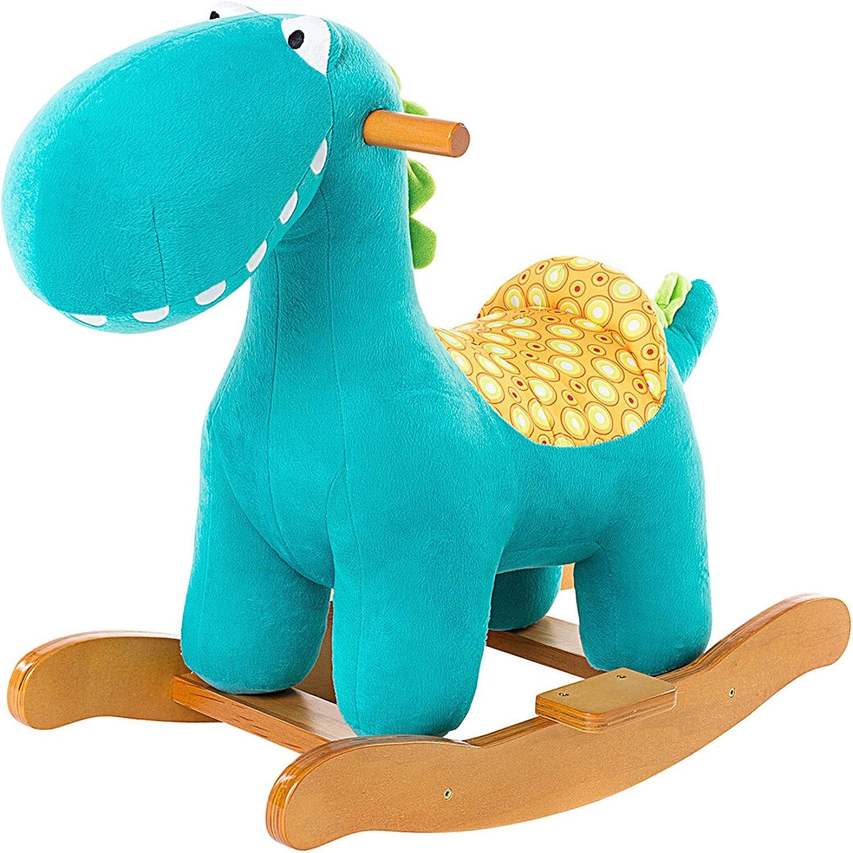 Labebe Cavtuttio Dondolo Legno, Peluche Dondolo Bambini di Dinosauro Blu per 6-36 Mesi, Cavtuttiuccio Dondolo Dinosauro Gio  Cavalcabili Bambini