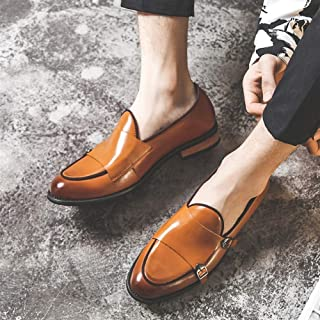 Leather Dress Oxfords for Men Business Loafers Slip on Microfiber Leather Pointed Toe Dual Monk Straps Stitched shoes (Color : Yellow, Size : 38 EU)