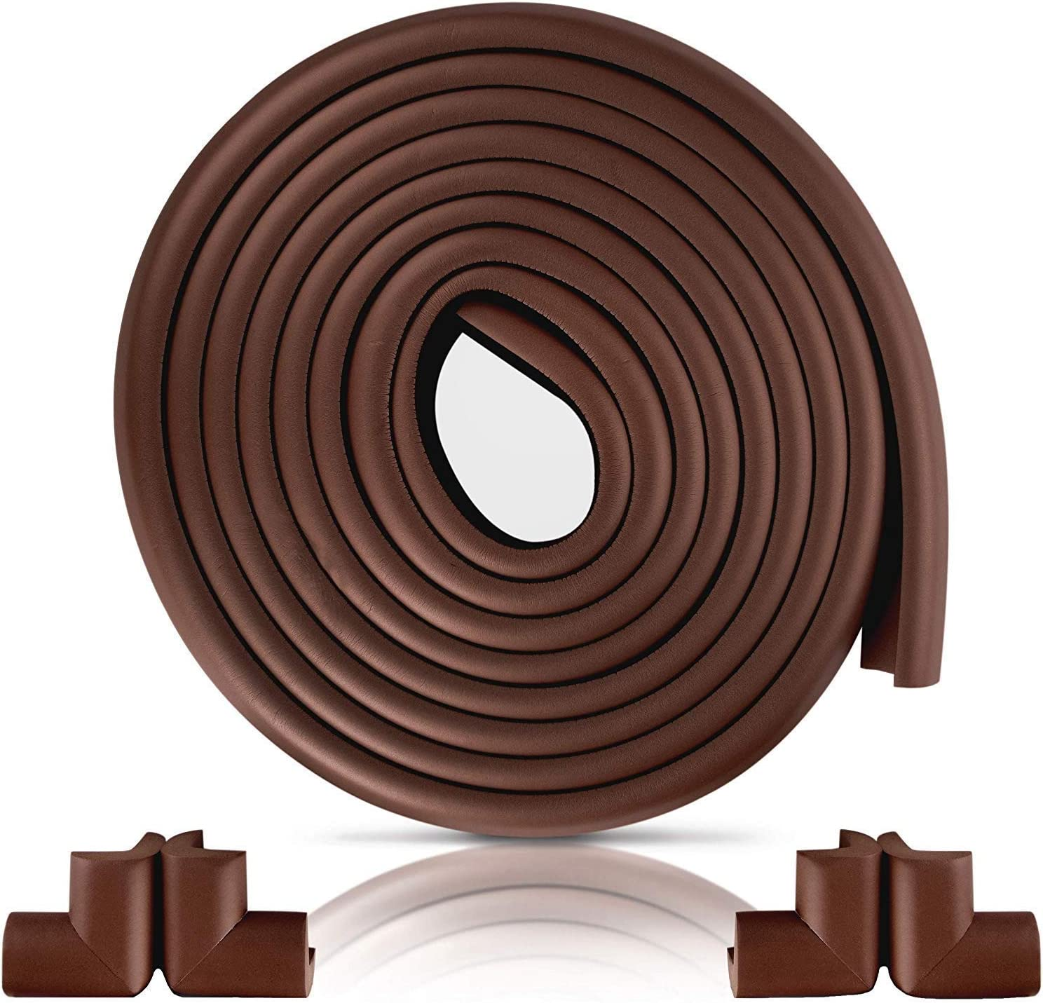 New Furniture Edge and Corner Guards | 16.2ft Protective Foam Cushion | 15ft Bumper 4 Adhesive Childsafe Corners | Baby Child Proofing Foam Set and Safe for Table | Fireplace | Countertop | Brown