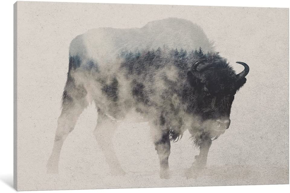 Max 71% OFF iCanvasART Credence iCanvas Bison in The Fog Art Wrapped Gallery P Canvas