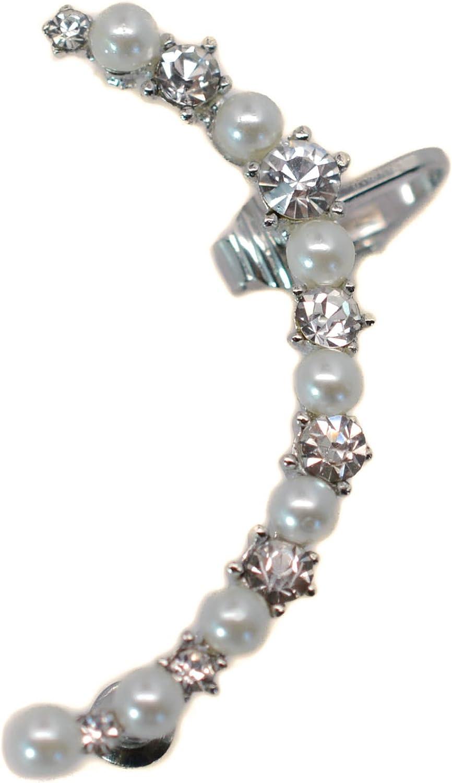 Miss Mozart Dutchess Faux Pearl Crystal Ear Cuff Rhodium Plated