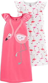 Image of Colorful 2 Pack Carter's Flamigo Nightgowns for Little Girls - See More Designs
