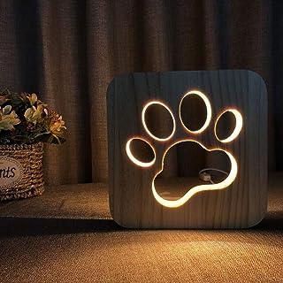 Luz de noche LED Animal NightLight de madera tallada USB de la lámpara creativa de la huella de la pata de la lámpara de mesa de madera de la lámpara 3D de la lámpara de perro pata de gato