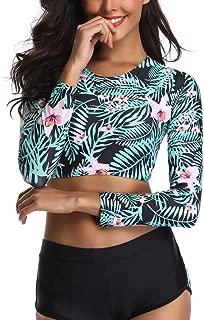 Sunhusing Ladies Printed Long-Sleeve Waterproof Sunscreen Surf Clothing + Shorts Split Two-Piece Swimsuit