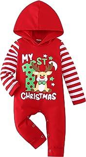 Xmas Newborn Baby Red Jumpsuit Romper Christmas Sock Warm hat Cap 2PC Set NB-12M