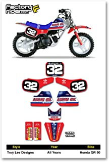 Enjoy MFG Graphics Kit & Number Plate Decals - Compatible Fit for Honda QR 50 Lucas Oil