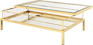Gold Sliding TOP Rectangular Coffee Table | EICHHOLTZ Harvey | Modern Contemporary Elegant Glass top Center Table with Storage for Living Room
