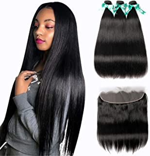 MQYQ 8A Brazilian Straight Hair 3 Bundles with Frontal (14 16 18+12 Frontal) 100% Unprocessed Human Hair 13×4 Ear To Ear Lace Frontal Closure Hair Extensions Weave Natural Black Color