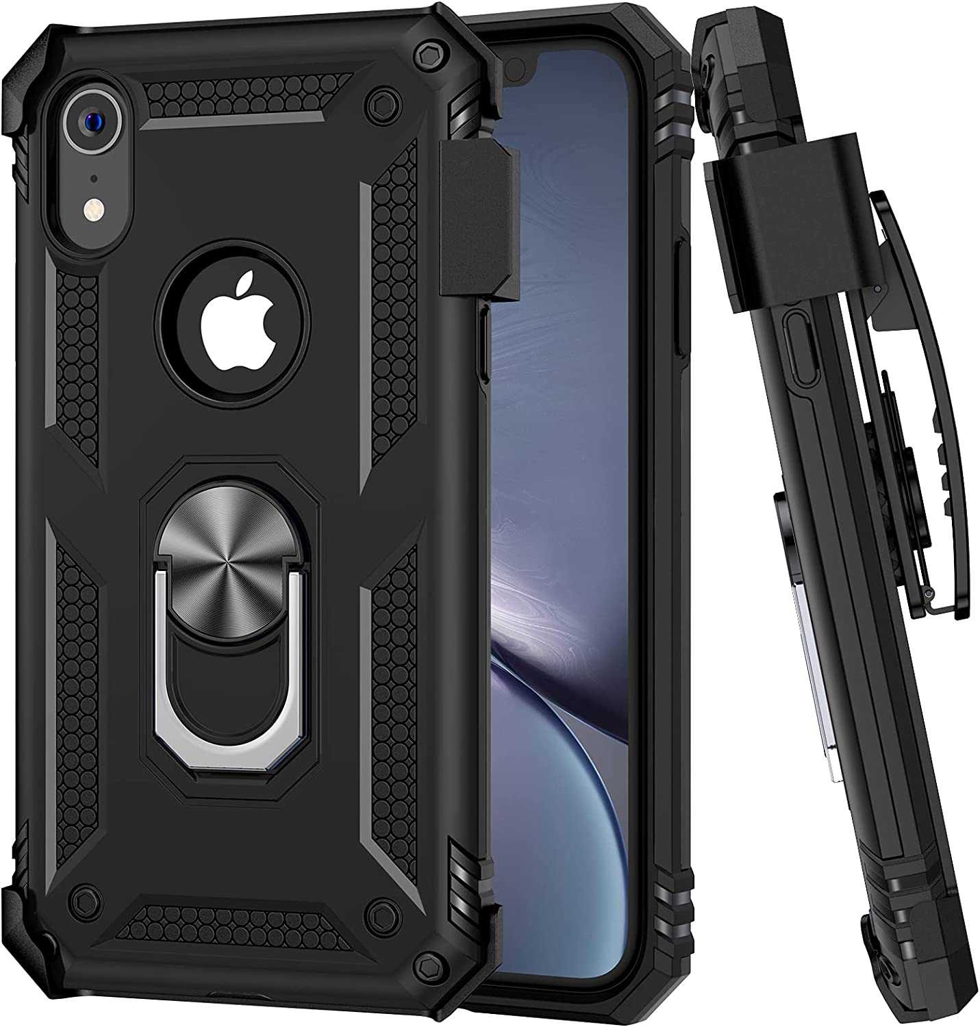 Ruky Case for iPhone XR with Belt Clip, iPhone XR Case with Ring Stand Kickstand Holder and Magnetic Dual Layer Heavy Duty Military Grade Shockproof Drop Protective Cover for iPhone XR 6.1