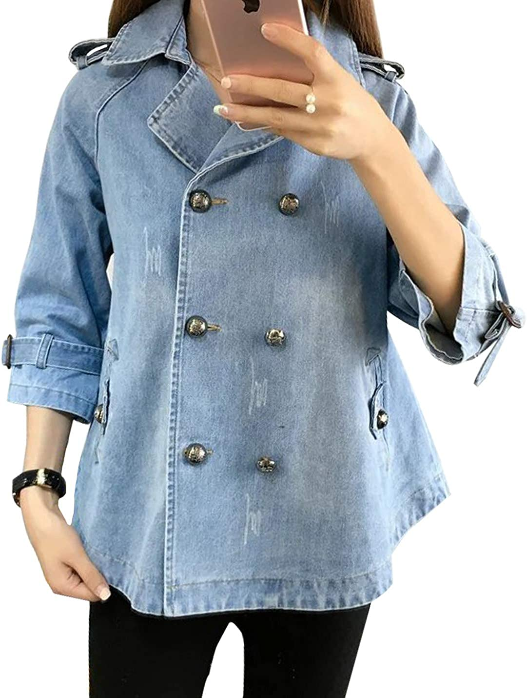 Yimoon Women's Loose Lapel Double-Breasted Washed Denim Jean Jacket Cowboys Coat