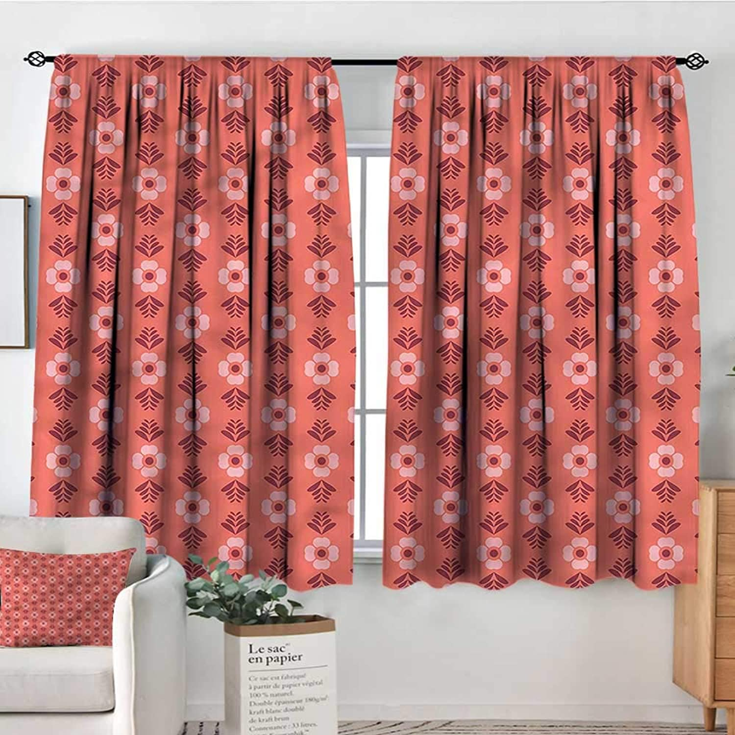 RenteriaDecor Coral,Outdoor Curtains Flower Floral Romance 52 x63  Print Picture Drapes for Iving Room