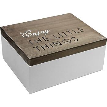 Caja de madera con tapa, 22 x 18 x 10 cm, marrón/blanca: Amazon.es: Bricolaje y herramientas