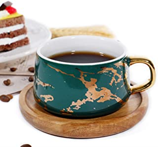 Ceramic Marble Tea Coffee/Tea Cups with Wood Saucers Luxury Gold Inlay (Green, Cup & Saucer)