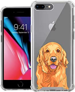 CasesOnDeck Slim Case Compatible with [Apple iPhone 7 Plus/iPhone 8 Plus] Soft and Flexible TPU Ultra Thin Shockproof Transparent Cover (Golden Retriever)