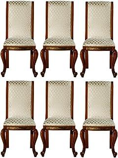 Casa Padrino Conjunto de sillas de Comedor Barroco Oro patrón/marrón/Oro 50 x 55 x A. 105 cm - Sillas de Cocina Noble Conjunto de 6 - Muebles de Comedor barrocos