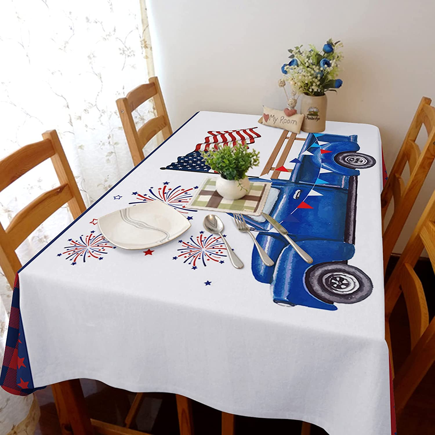 60x104in Washable Cotton Linen Tablecloth Fit Ant Regular dealer overseas Dust-Proof and