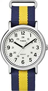 Timex Unisex TW2P67700 Weekender Blue/Yellow Stripe Nylon Slip-Thru Strap Watch