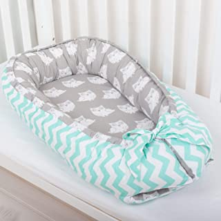 Baby nest bed or toddler size nest, mint and owls, portable crib, co sleeper babynest for newborn and toddler nest bed, cot bumper, baby cocoon, positioner, travel cot, baby bassinet, lounger