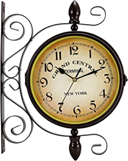 Double Sided Wall Clock, Wrought Iron Vintage Station Clock Two Faces Dual side Antique Vintage Circle Station Wall Side H...
