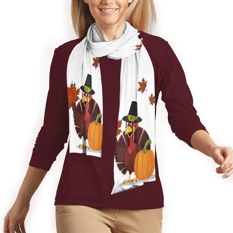 Long Fashion Thanksgiving Turkey Autumn Fall Pumpkin Scarves Cotton Soft Scarf for Men and Women
