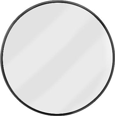 Red Co. - Espejo redondo para pared (47 cm, marco de metal cepillado, tamaño grande), color negro