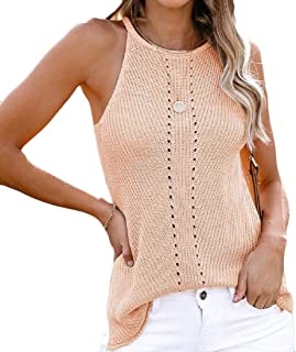 Women's Cami Crochet Tank High Neck Knit Halter Racerback Workout Blouse Sleeveless Shirt Sweater Vest